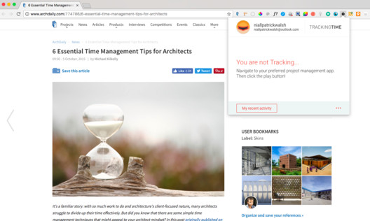 Tracking Time Chrome Extension. Image