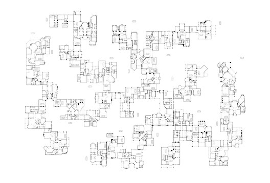 Alison's Acres, Study for a mat subdivision—composed exclusively with houses sampled from the plan catalogs of some of America's largest commercial homebuilders—in which the hidden and generally unacknowledged interdependencies that bind American houses together are manifest in the overall arrangement. From Atlas of Another America, Park Books, 2016. Image Courtesy of Keith Krumwiede