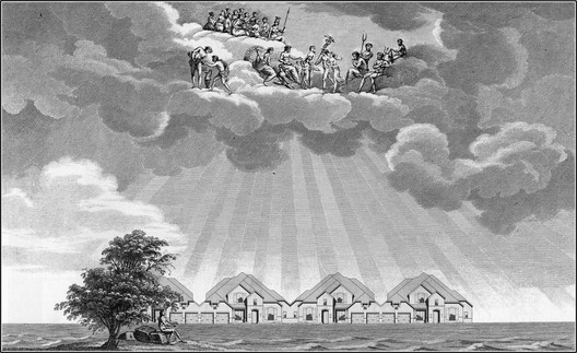 As the American Dream dies, we must rethink our suburbs, homes, and communities. Seen here: ,L'Abri de la Bourgeoisie, after L'Abri du Pauvre, Claude-Nicolas Ledoux, 1804, from Atlas of Another America, Park Books, 2016. Image Courtesy of Keith Krumwiede