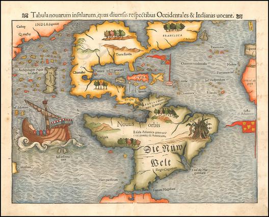Tabula novarum insularum, quas Diversis respectibus Occidentales & Indianas uocant. Image © Sebastian Münster (Public Domain)