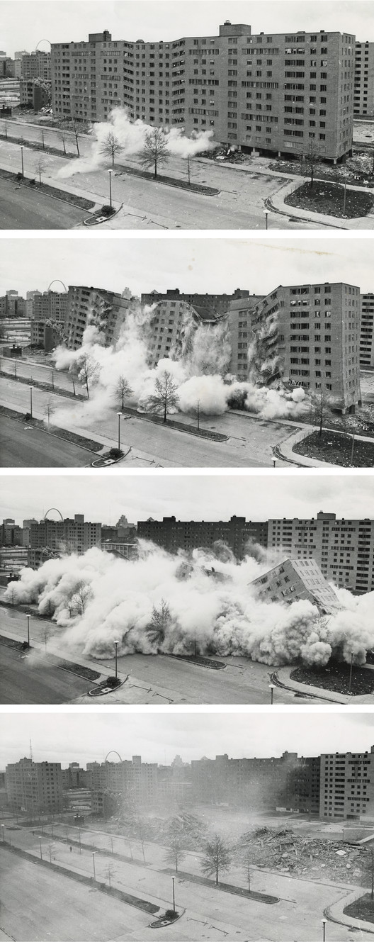 The televised demolition of Pruitt-Igoe sparked widespread discussion over what precisely caused the project to fail so dramatically. ImageCourtesy of Wikimedia user Cadastral (Public Domain)