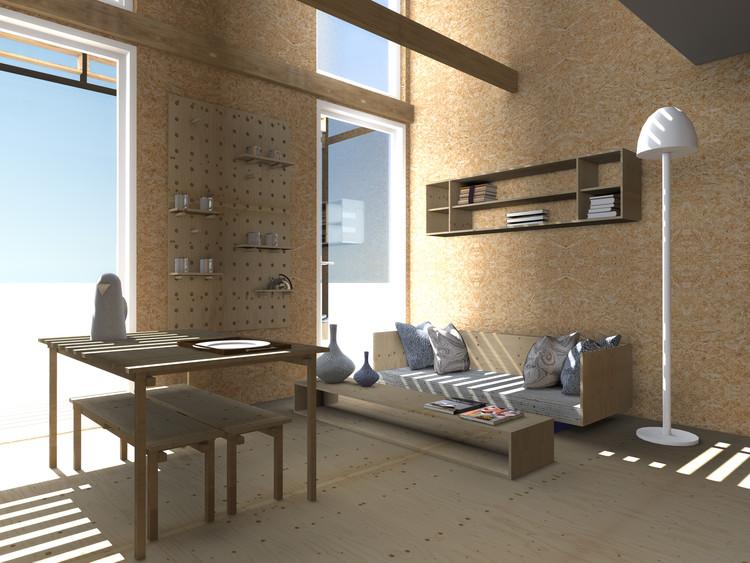 Casa S3: render de sala de estar. Image Cortesía de Taller 1/1