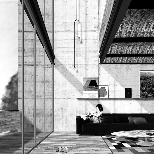 Salon view render. Image Courtesy of Dellekamp Arquitectos