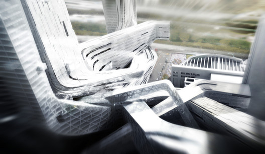 Four-Towers-in-One competition proposal for Shenzhen. Image Courtesy of Morphosis