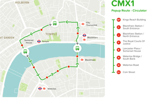 The CMXI bus route. Image Courtesy of Citymapper