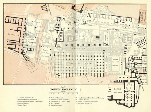 "Map of the Roman Forum, taken from Ball Platner's ""The Topography and Monuments of Ancient Rome"" (1904). Image via Wikimedia Commons (Public Domain)"