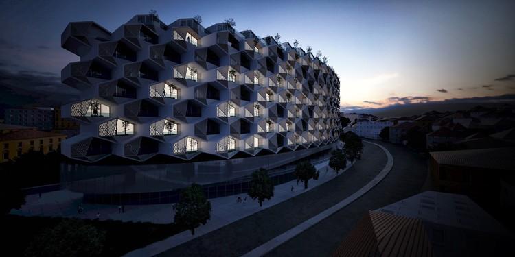 Modular hexagonal units with triangular gardens dominate the facade. Image Courtesy of Eray Carbajo