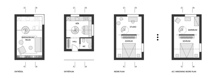 The floor plan provides 50sqm of open plan living, a double bedroom, and studio space. Image Courtesy of Manofactory