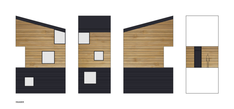 One elevation of the Nestinbox can be free of windows, allowing for combinations of several units. Image Courtesy of Manofactory