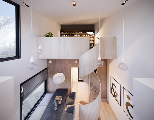 An interior arranged around three floors provides compact yet functional living. Image Courtesy of Manofactory