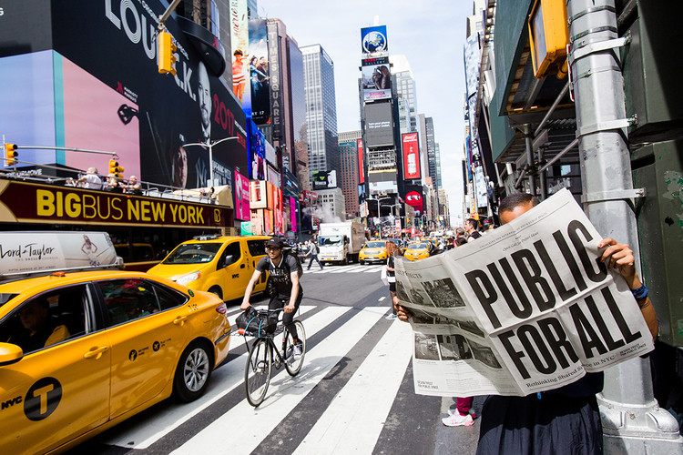 """Call for Ideas: """"Public for All: Rethinking Shared Space in NYC"""", Graphic design: Delcan & Co Studio. Photo: Liz Ligon. Courtesy of the Design Trust for Public Space"""