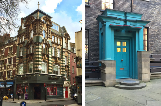 Right: 99A Charing Cross Road, by C.H. Worley (1904). Left: Courtyard porch at Comyn Ching, by the Terry Farrell Partnership (1978-1985). Image © Timothy Brittain-Catlin