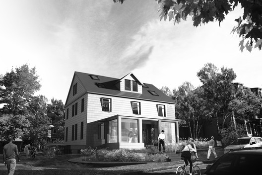The existing 1940's timber-framed house will become the CGBC HQ. Image Courtesy of Snøhetta