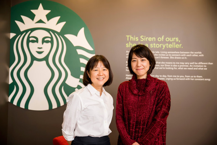 EriTakao(left)andhermanager,MayuTakashima,fromStarbucksJapan'sshop-designplanningteam. Image Courtesy of Starbucks Japan
