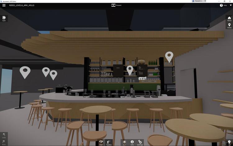 TheviewinAutodeskRevitLive.The3Dspaceofthedesigncanbeviewedandmovedthroughusingahead-mounteddisplay. Image Courtesy of Starbucks Japan