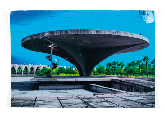 """Caitlin Berrigan, """"Unfinished State"""" postcard, 2010–13, helicopter pad at Rachid Karami International Fair Park by Oscar Niemeyer, 1967–75, Tripoli, Lebanon. Courtesy of Caitlin Berrigan and Archive Books. From the 2017 Individual Grant to Caitlin Berrigan for """"Unfinished State."""". Image Courtesy of Graham Foundation"""