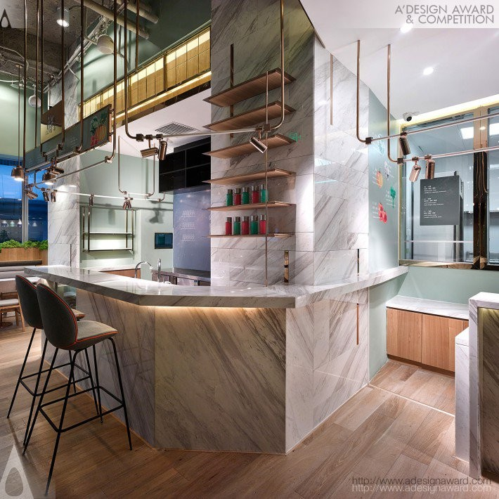 Beijing Expreesoup by Joy Chou- Golden A' Interior Space, Retail and Exhibition Design Award in 2017. Image Courtesy of A' Design Award & Competition