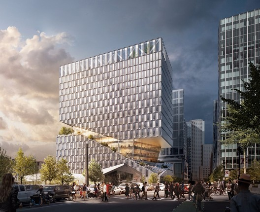 OMA Designs Carved Mixed-Use Building for Boston Seaport