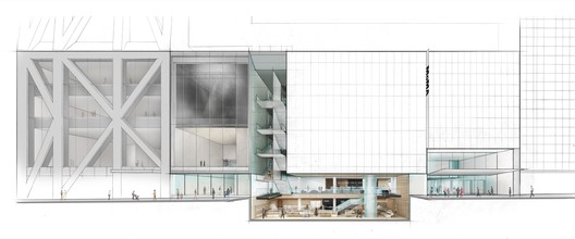 Elevation of The Museum of Modern Art on 53 Street with cutaway view below street level. Image © 2017 Diller Scofidio + Renfro