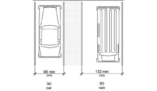 Accessible parking space sizes. Image Courtesy of United States Department of Justice