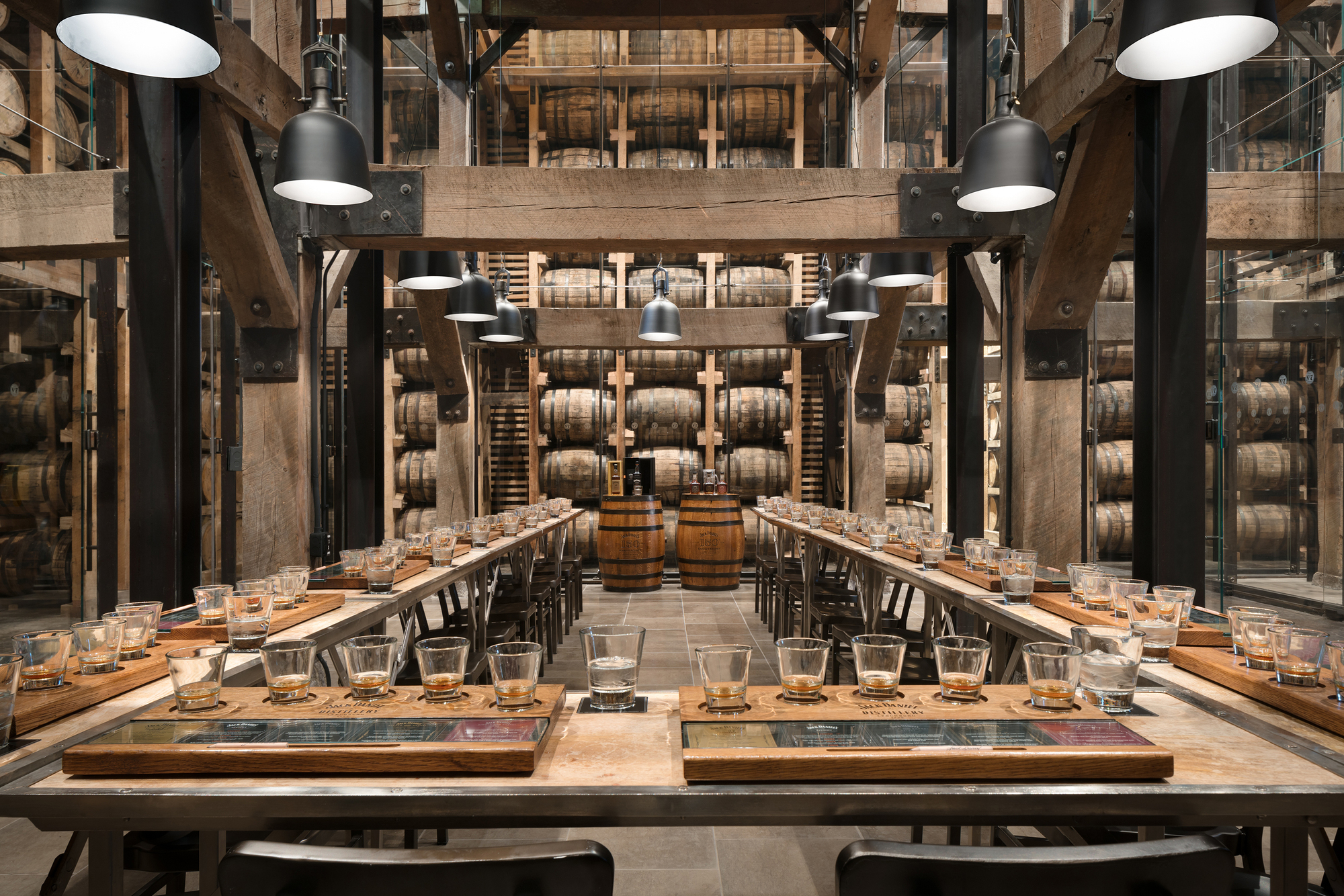Tasting room in Jack Daniel's renovated Distillery Barrel House originally built in 1938, Lynchburg, Tennessee [OS] [2000×1334]