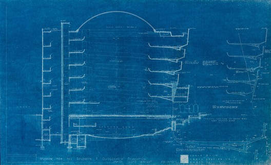 1953 section of the proposed Guggenheim Museum design. Image © 2017 Frank Lloyd Wright Foundation, Scottsdale, AZ. All rights reserved.