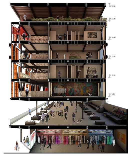 First Place XVIII CAP 2014 Contest, Social Housing of Average Height / USACH. Courtesy of Team 160