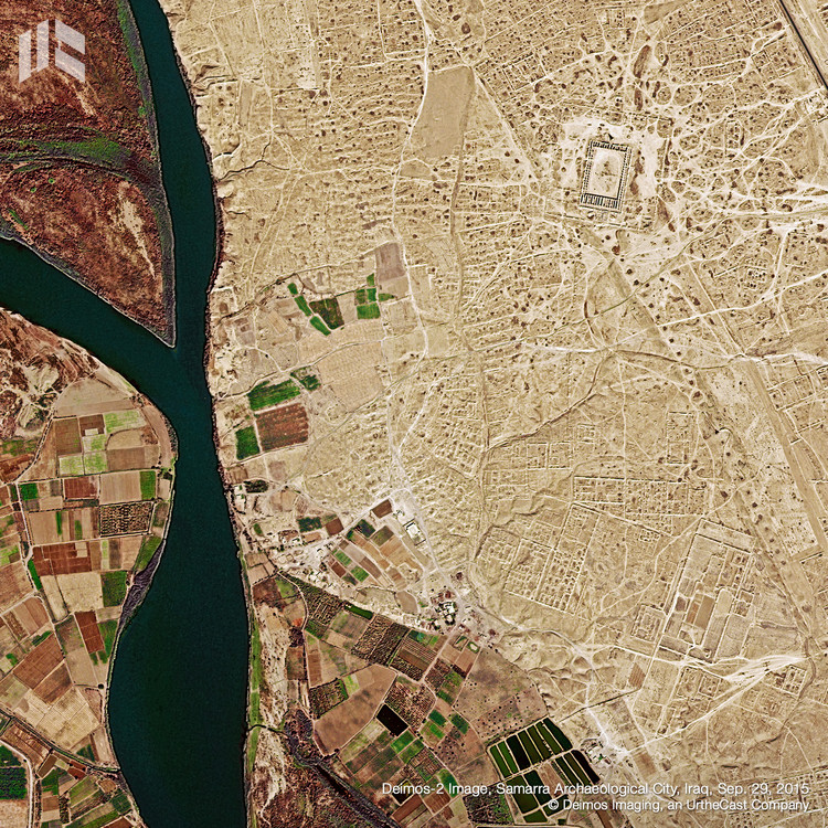 6 Endangered World Heritage Sites as Seen from Space, Samarra Archaeological City, Iraq. Image © Deimos Imaging