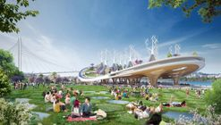 Vincent Callebaut Imagines Hyperbolic Shaped Forest Suspended Over River in Seoul