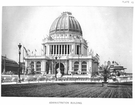 The magnificent Administration Building set the standard for all the main buildings at the Exposition. ImageCourtesy of Wikimedia user RillkeBot (Public Domain)