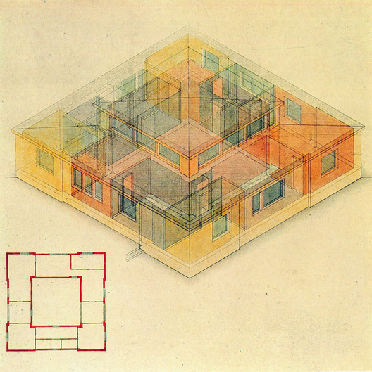 An axonometric diagram shows the arrangement of living spaces centered around the living room. ImageDrawing by Georg Muche