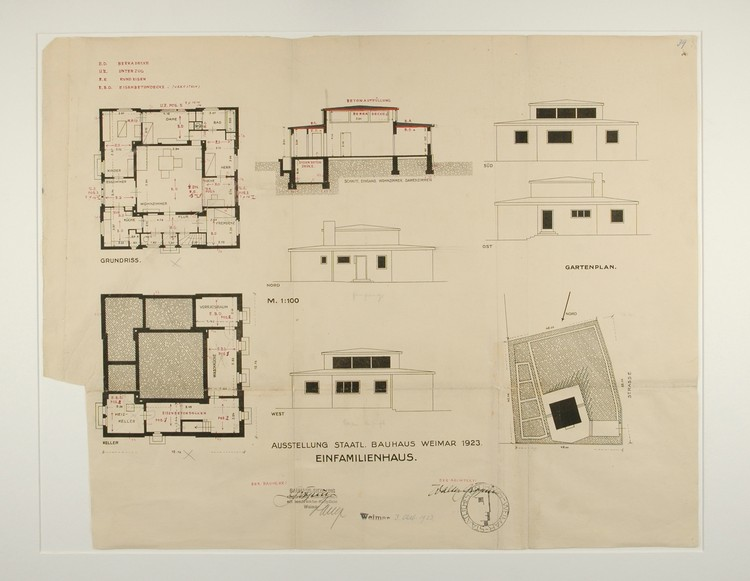 A copy of Georg Muche's original permit drawings for the Haus am Horn. From each perspective, the spatial prominence of the central living room is inescapable