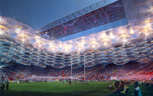 The design of the perfect rugby stadium was a collaboration between HOK and four rugby legends. Image Courtesy of HOK