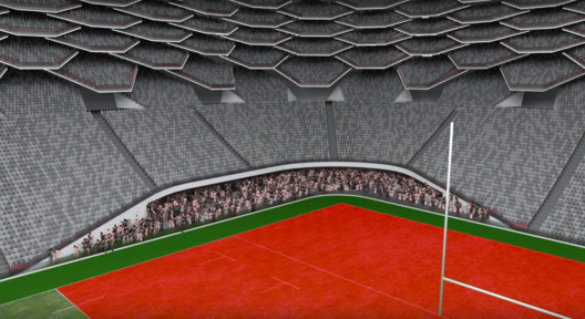 Standing areas in the 'red zone' could generate more density and noise from excited fans. Image Courtesy of HOK