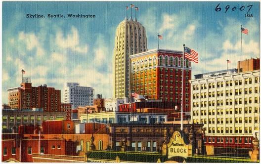 Postcard of Seattle, estimated 1930-1945. Image via <a href='http://ark.digitalcommonwealth.org/ark:/50959/pk02ck511'>Boston Public Library Tichnor Brothers collection #69007</a> (public domain)
