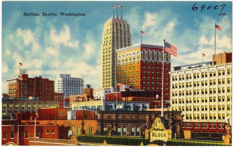 Postcard of Seattle, estimated 1930-1945. Image via <a href='http://ark.digitalcommonwealth.org/ark:/50959/pk02ck511'>Boston Public Library Tichnor Brothers collection #69007</a> (public domain)