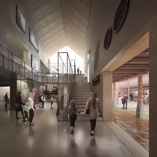 Renderings from an earlier iteration of the design. Image Courtesy of Carmody Groarke