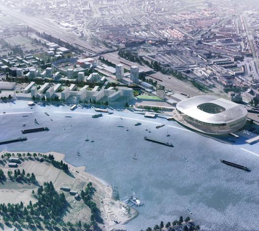 OMA's Feyenoord Stadium and Masterplan. Image © OMA