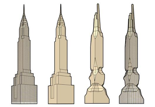 Hollwich Kushner's 3-stage transformation of the Chrysler Building. Image Courtesy of Hollwich Kushner
