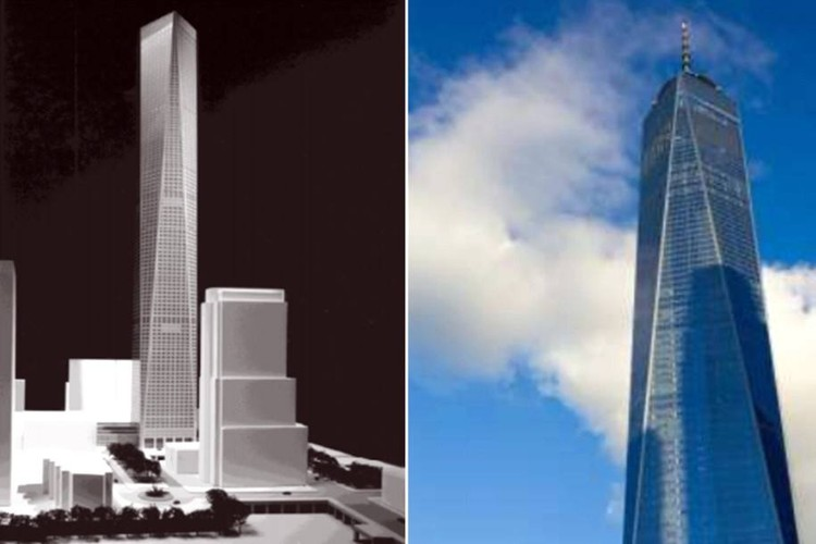 Architect Sues SOM for Stealing One World Trade Center Design, Park's Cityfront '99 design (left) compared to One World Trade Center (right). Image via 6sqft