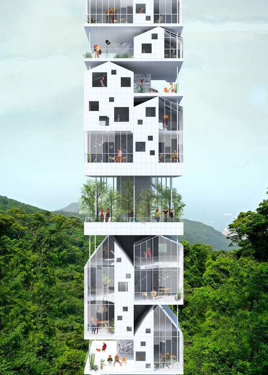 Second Prize: Exterior Perspective. Image Courtesy of Bee Breeders