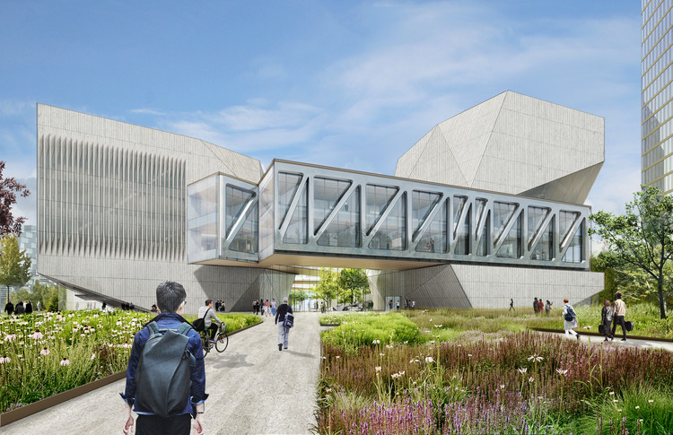 Diller Scofidio + Renfro Breaks Ground on Juilliard's First Overseas Campus in China, View of the main entry at the southeast corner. Image Courtesy of Diller Scofidio + Renfro