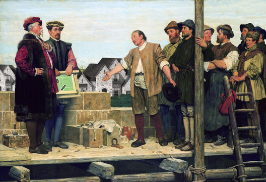 Don Barthelmismo Meets with Workers at The Palace, Freedomland, after Capital and Labour by Henry Stacy Marks, 1874. From Atlas of Another America: An Architectural Fiction (Park Books, 2016). Image Courtesy of Chicago Architecture Biennial