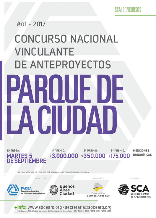 Concurso Nacional Vinculante de Anteproyectos: Parque de la Ciudad / Argentina, Cortesía de Sociedad Central de Arquitectos
