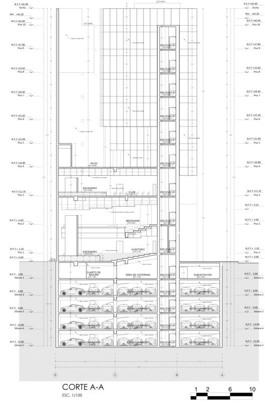 Corte AA. Image Cortesía de Estudio Arquitectura & Ciudad