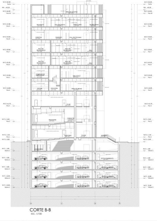 Corte BB. Image Cortesía de Estudio Arquitectura & Ciudad