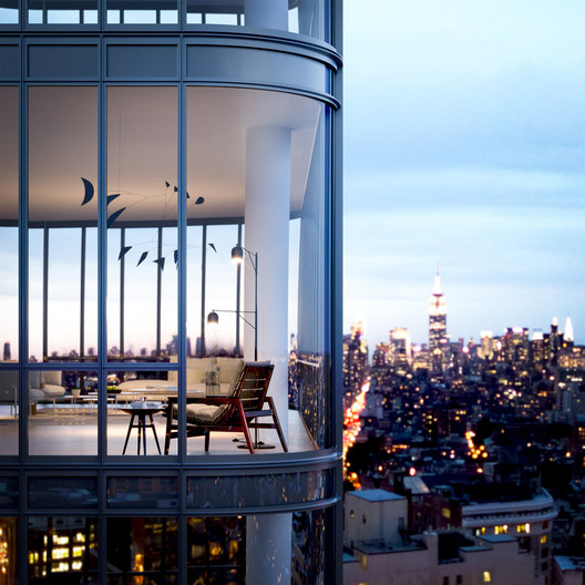Renzo Piano Building Workshop, 565 Broome Street Soho Tower, Nueva York, muestra Black Tail Crescent, de Calder, 1959. Es parte de una colección privada. Imagen Cortesía de Renzo Piano Building Workshop