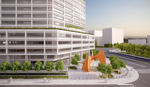 Skidmore, Owings & Merrill LLP (SOM), Godrej BKC, Mumbai, featuring Calder's La Grande vitesse, 1969 (The monumental sculpture this model is based on is actually installed in Calder Plaza in Grand Rapids, Michigan). Image Courtesy of SOM