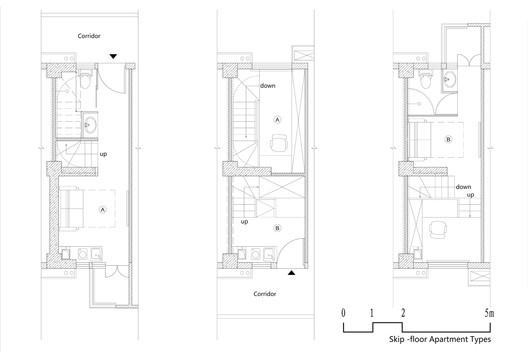 Building No.5 - Skip-floor Apartment Floor Plans