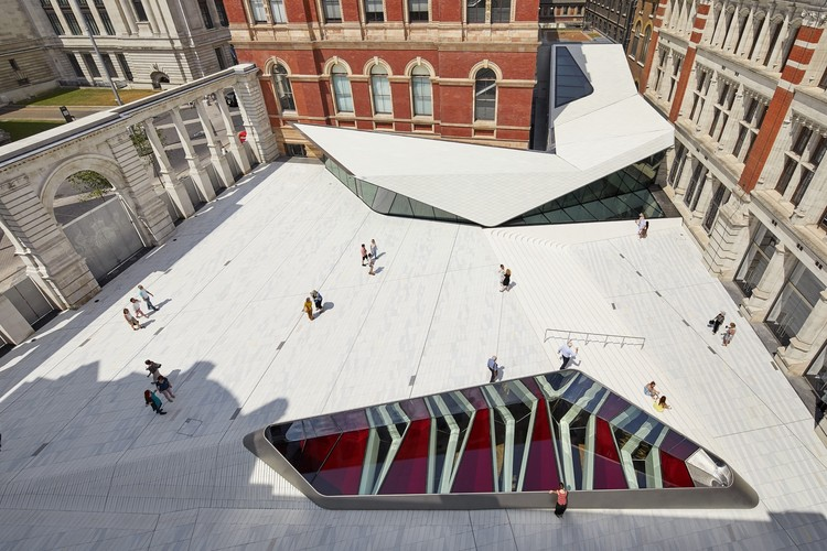 See Inside AL_A's Now-Open London V&A Museum Addition, The Sackler Courtyard, V&A Exhibition Road Quarter. Image © Hufton + Crow